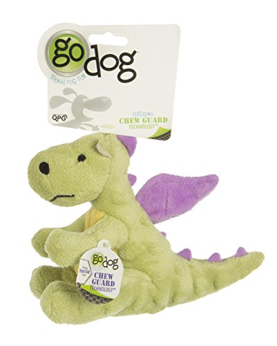 goDog Dragon With Chew Guard Technology Tough Plush Dog Toy, Lime, Small -