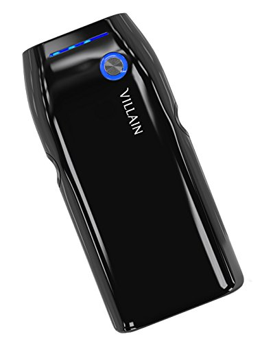 Villain Portable Power Bank Battery Charger - 5000mAh Original LG Battery Cells - Extra Lightweight (120g) with Compact Pocket Size - Fast Charging at 2.1 A - LED Indicator & Ergonomic Design