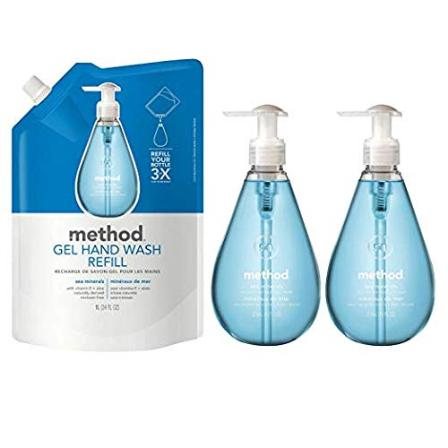 - Method Gel Hand Soap Bundle with Two 12 oz. Dispensers & One 34 oz. Refill | Naturally Derived Hand Soap (Sea Minerals)