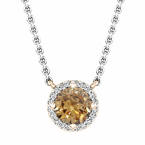 Dazzlingrock Collection 0.90 Carat (ctw) 14K Round Champagne & White Diamond Halo Pendant (Silver Chain Included), Rose Gold
