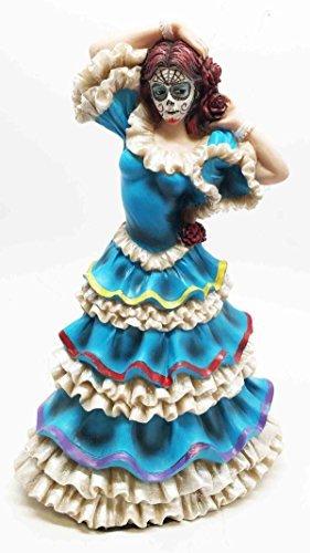 Dia De Los Muertos Sugar Skull Blue Sky Dancer Figurine Day Of The Dead Vivas Calacas (Dead Day The Of Figurines)