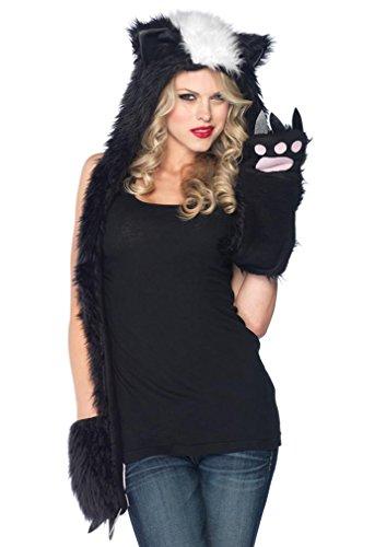 Leg Avenue Unisex - Adult Plush Skunk Hood, Black/White, One Size