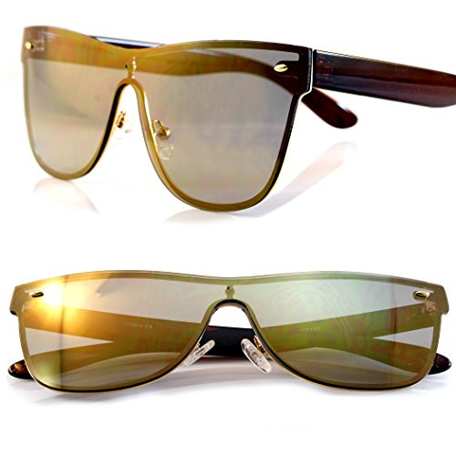 FBL Unisex Futuristic Rimless Flat Lens Sunglasses,Flash Mirror/Smoke Lens A023 (Gold Revo, 60)