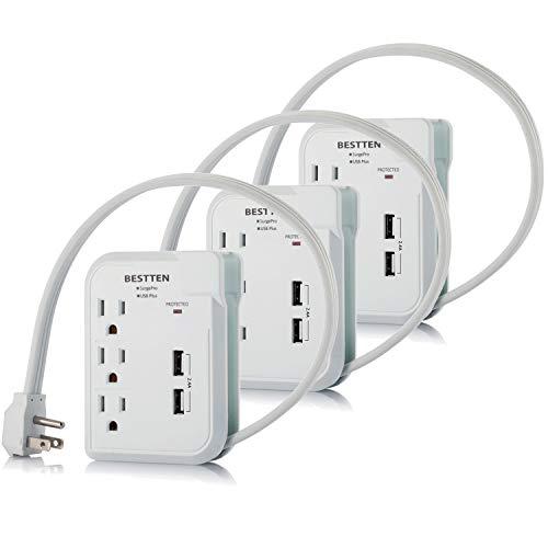 BESTTEN 3 Outlet Portable Power Strip Travel Mini Surge Pro