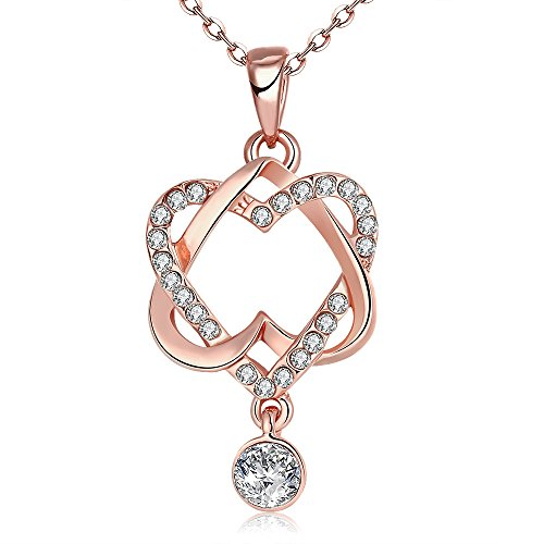 Love Heart Pendant Necklace -HaniQueen Jewelry- Round Rhinestone Hearts Charm Rose Gold Chain with Crystal Dangle Ideal Gift