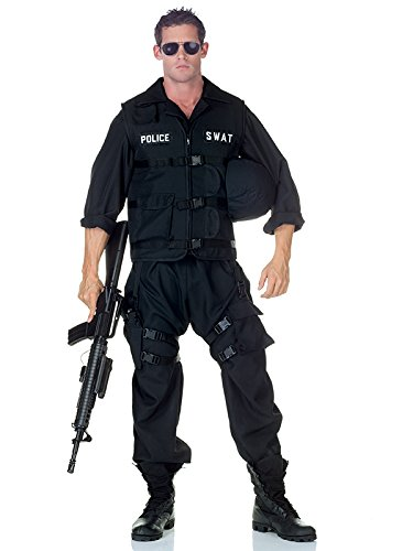 Swat Team Costume For Adults (Underwraps Men's Swat with Jumpsuit, Black, One Size)