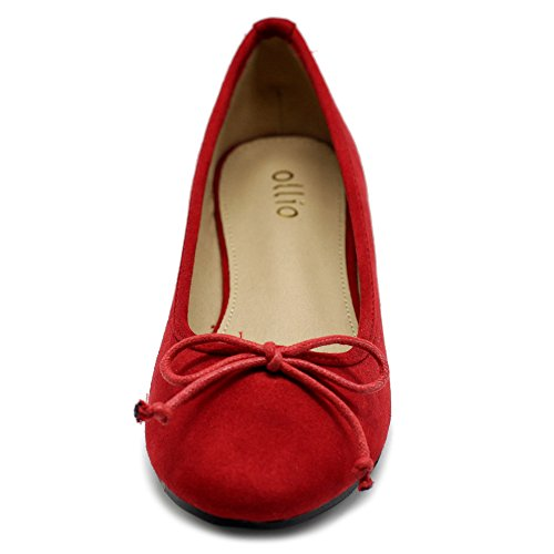 Ollio Womens Shoe Faux Suede Ribbon Ballet Flat Red 2Qexx2X