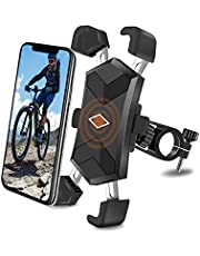 Bike Phone Mount, One-Second Lock Bicycle Phone Holder with 4 Stainless Steel Telescopic Clamp Arms for Super Stability 360°Rotation (Black)