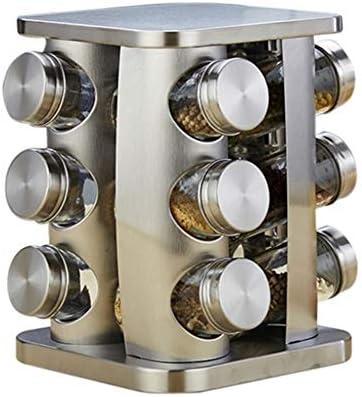 あなたのキャビ ロータリー調味料の瓶調味料ボックスステンレス鋼の塩鍋ガラスの調味料の瓶台所は調味料ボックス調味料の瓶用品 はパントリー (Color : Silver)