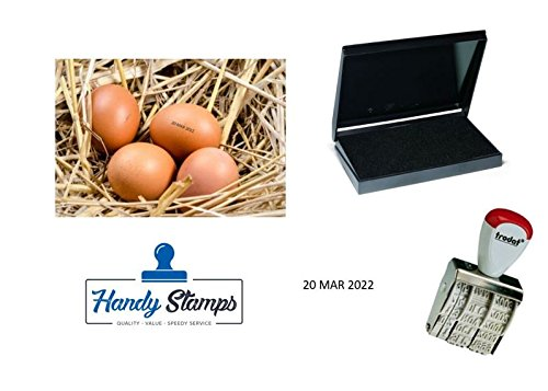 Egg Dater KIT - Includes 3mm Rubber Date Stamp and Ink pad Containing Egg Safe Food Ink - Black (Date Stamp Kit)