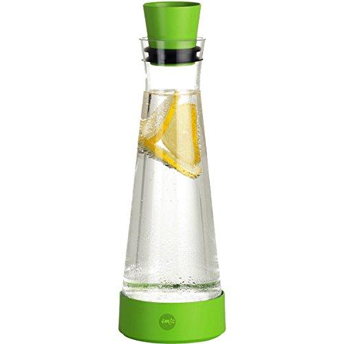 Emsa 515473 Glaskaraffe mit Kühlelement, 1 Liter, Automatische Verschlussklappe, Jungle, Flow Slim Friends