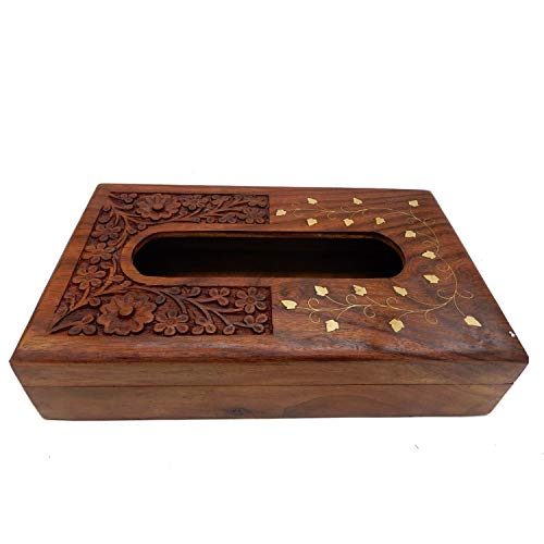 - WhopperOnline Elegant Wooden Antique Book Holder Dispenser/Novelty Napkin Holder with Decorative Brass Work, Refillable Facial Tissue Box Cover - 10x6 inch