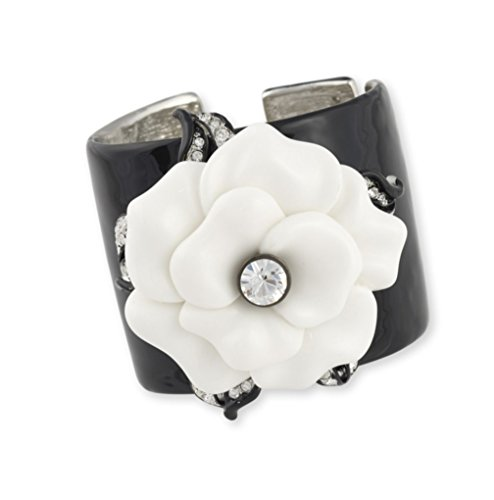 Kenneth Jay Lane BLACK ENAMEL CUFF WITH WHITE FLOWER ACCENT