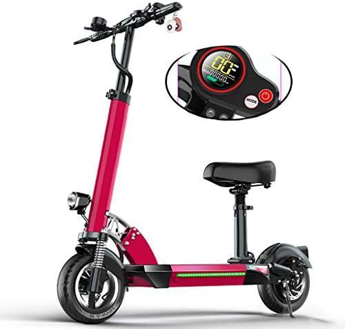 電動スクーター大人、50KM長距離、500w高出力モーター、LCDディスプレイ付きEスクーター、48V / 13AHバッテリー、最大速度55km / h、10インチタイヤ付き、高さ調節可能、携帯電話用USB充電器