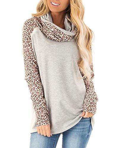 Blivener Women's Casual Sweatshirts Long Sleeve Leopard Print Tops Cowl Neck Raglan Shirts Gray L ()