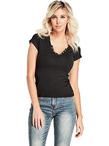 GUESS Factory Women's Cerise Short-Sleeve Studded Split-Neck Top