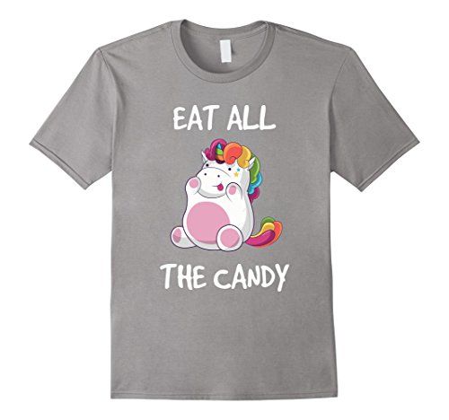 Mens Funny Fat Unicorn Halloween T-Shirt Eat All The Candy Large Slate (Fat Male Halloween Costume Ideas)