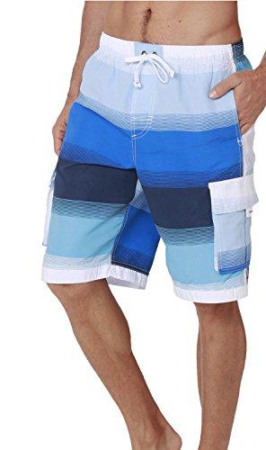 INGEAR Men's Swim Trunk Quick Dry Watershorts (Blue Stripes, - Men Wear Suit