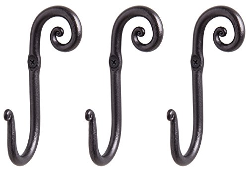 RTZEN Decorative Stylish Wall Mounted Hooks, 3 Handmade Wrought Iron Right Swirl Hangers for Coat, Hat, Jacket, Robe, Bath Towel | Mug Hooks | Black Scroll Hangers | Handcrafted Décor