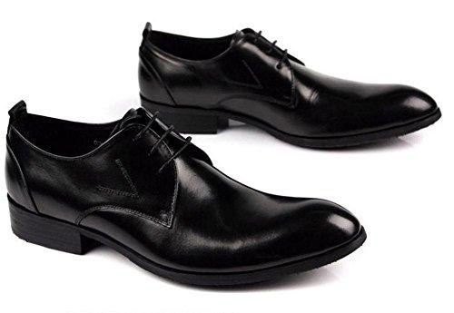 Hombres Negocio Cuero Con cordones Zapatos Plano Primavera Vestir marrón Negro Puntiagudo Soltero Casual Oxfords tamaño 38-44 Black