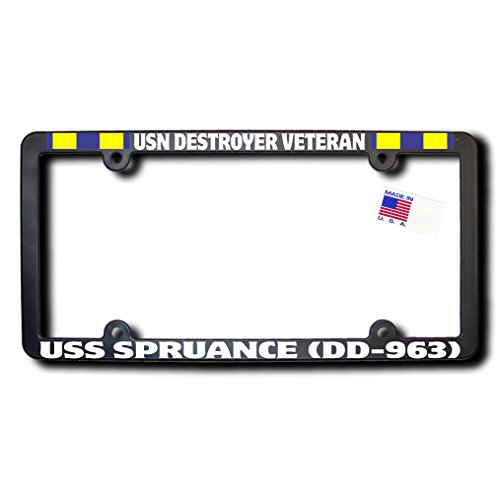 USN Destroyer Veteran USS SPRUANCE (DD-963) License Frame w/REFLECTIVE TEXT and Navy Expeditionary Ribbons ()