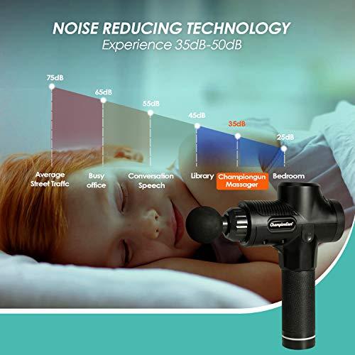 ChampionGun Percussion Massage Gun – Deep Tissue Handheld Massager – Portable Quiet Muscle Neck Massagers with 6 Different Heads