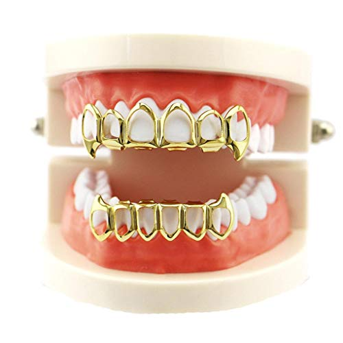 HP95 1 Set Top and Bottom Mouth Teeth Grills Hip Hop Teeth Grillz Removable Dental Grills (Gold)