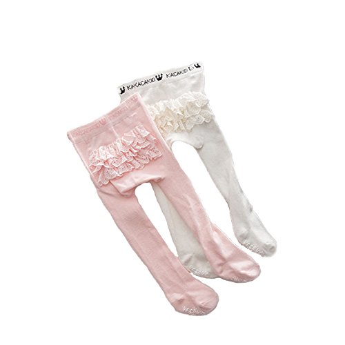 Ehdching 2 Pack Lovely Baby Infant Toddler Girls Anti-Slip Ruffle Rhumba Tights(white pink) (white pink, 2-4 years)