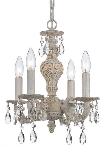 Crystorama 5024-AW-CL-MWP Crystal Accents Four Light Mini Chandeliers from Sutton collection in Whitefinish, ()