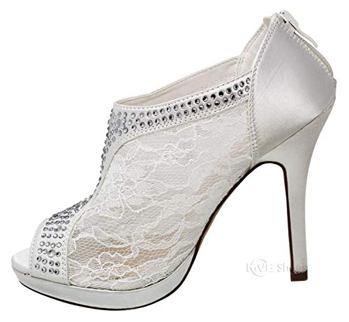 MVE Shoes Women's Lace Bridal High Heel Platform Peep Toe Shootie - Satin Lace Open Toe Cover Dress Pump - Lace High Heel Shootie with Flatback Crystals