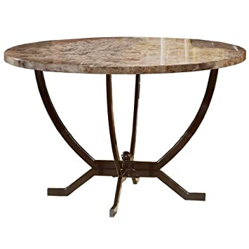 Amazon Hillsdale Monaco Round Faux Marble Top Dining Table