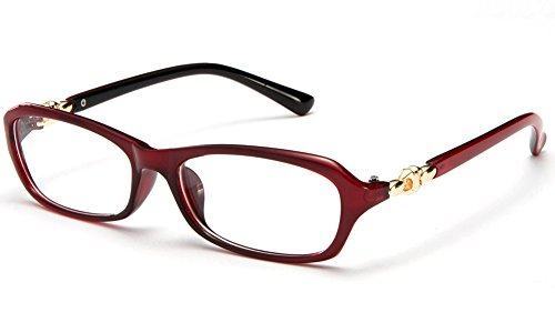 Newbee Fashion® - Womens Slim Fit Temple Design Metal Frame Clear Lens Glasses Red