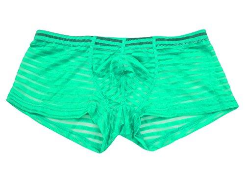 (Men's Mesh Stripe Boxer Briefs Casual Daily Wear Underwear Clubwear Thong Size XL Green)
