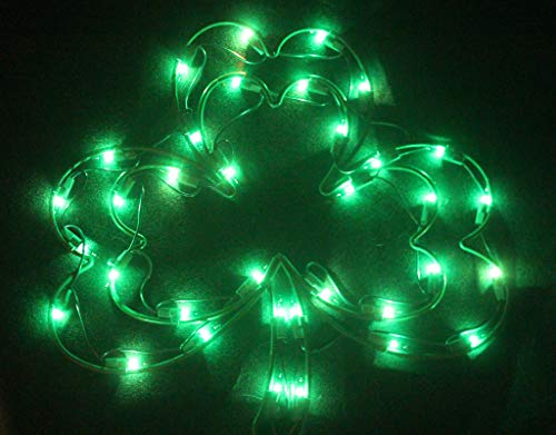 St. Patricks Day Double Shamrock Lighted Window Wall