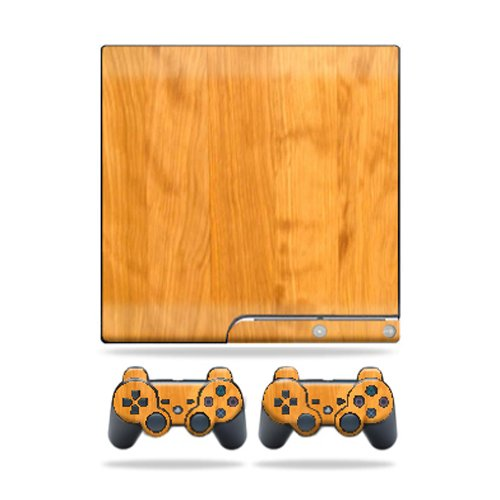 MightySkins Protective Vinyl Skin Decal Cover for Sony Playstation 3 PS3 Slim skins + 2 Controller skins Sticker Birch Wood