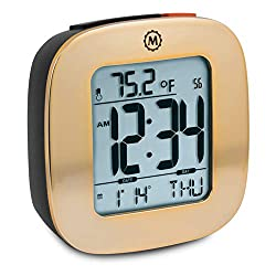 Marathon CL030058GD Special Edition Compact Alarm Clock with with Snooze, Light Feature, Temperature and Date - Polished Gold - Batteries Included