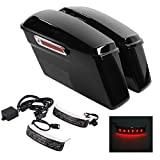 XMT-MOTO Vivid Black Hard saddlebags kit with LED Saddlebag...