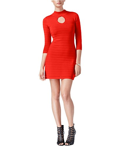 Guess Womens Guia Ribbed Knit Keyhole Bodycon Dress Red S