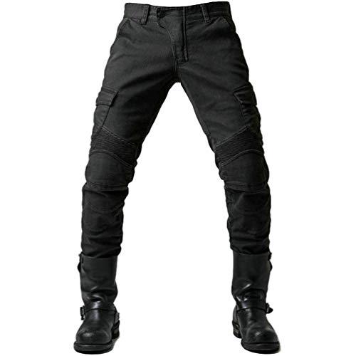 YuanDian Herren Slim Fit Motorrad Jeans Mit Protektoren Knie und Hüftprotektoren Stretch Slim Fit Denim Motorradhose…