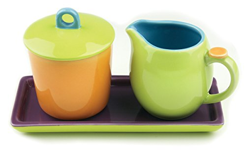 Cream Sugar Tray Set - Omniware 1109055 Hemisphere Cream & Sugar with Tray, Orange/Purple/Green