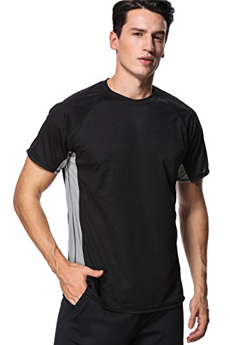 anfilia Men Colorblock Rash Guard Short Sleeve Swim Shirts Surf Tops Large