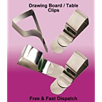8 x Drawing Board Clips Nickel Plated Steel Table Cloth Holders Upto 25mm Thick