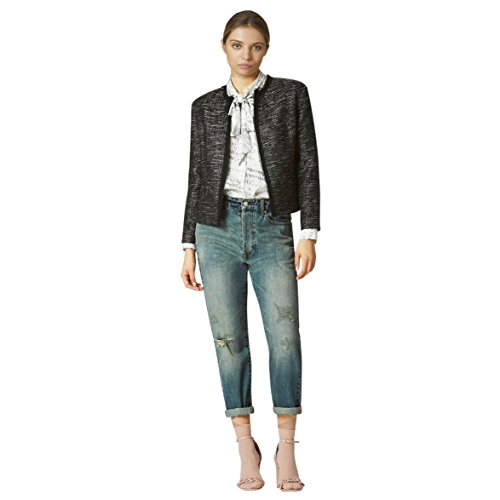 Tweed Fitted Jacket (Avec Les Filles Joyce Azria Raw Edge Tweed Jacket (Black/White) Size L)