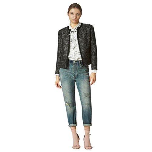 Avec Les Filles Joyce Azria Raw Edge Tweed Jacket (Black/White) Size M (Tweed Jacket Wool)