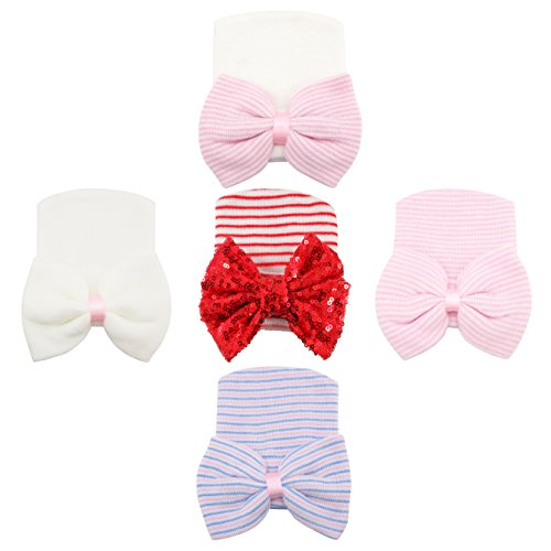 RareLove Newborn Hospital Hat with Stripe Bow Knot For Preemie Baby Girls Boys (5PCS XMAS RED)