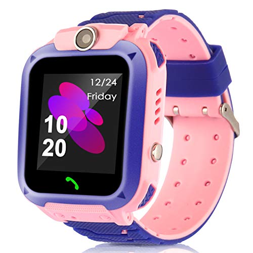 Kids Smart Watches with GPS Tracker Phone Call for Boys Girls Digital Wrist Watch, Sport Smart Watch, Touch Screen Cellphone with Camera Anti-Lost SOS Learning Toy for Kids Gift (Waterproof- Pink)