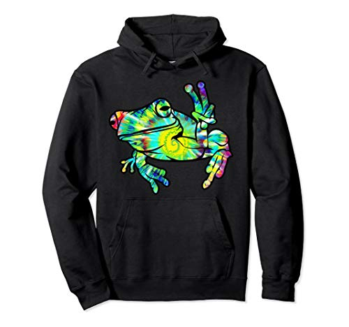 Frog Tie Dye - Cool Peace Frog Tie Dye Hoodie For Boys And Girls
