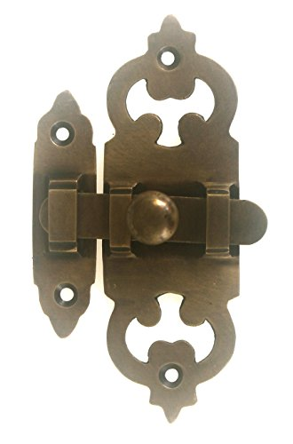 Antique Style Brass Slide Latch for Cabinets by Nesha (Brass Cabinet Latch)