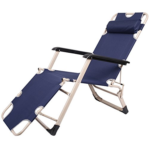 Lucky Tree Adjustable Patio Chaise Lounge Chair Outdoor Flat Floding Camping Chairs Recliner for Beach