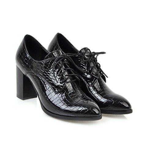 Show Shine Dames Lace Up Dikke Hak Oxfords Schoenen Zwart